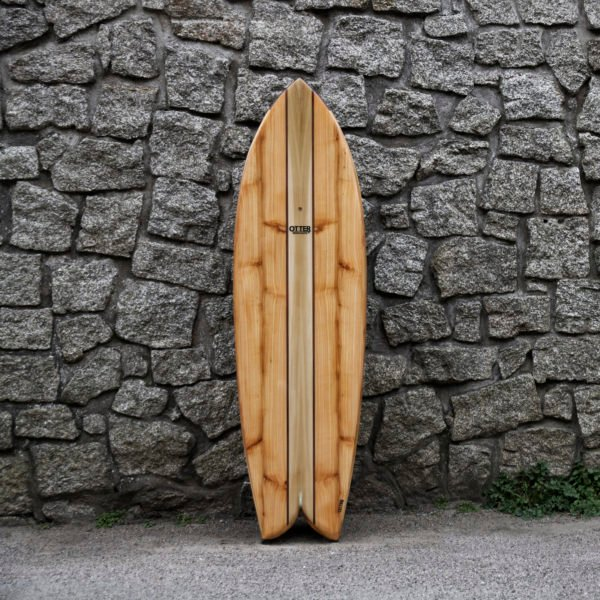 otter wooden surfboard woodburner fish stone wall product