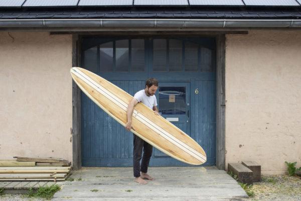 finished wooden surfboard otter surfboards workshop cornwall wicket longboard ally