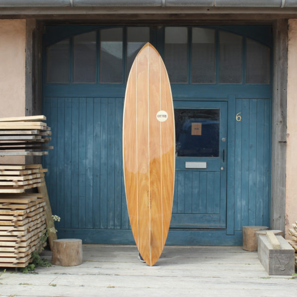 finished wooden surfboard otter surfboards workshop cornwall Clipper classic pin tail single fin