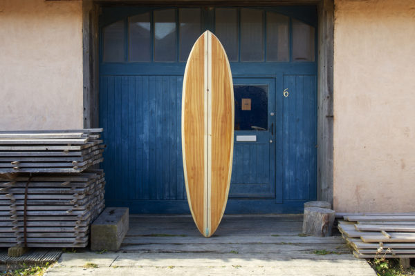 finished wooden surfboard composite otter surfboards workshop cornwall Roller Coaster