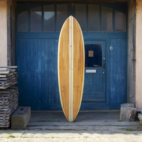 finished wooden surfboard composite otter surfboards workshop cornwall Roller Coaster