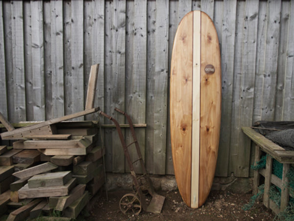 finished wooden surfboard otter surfboards workshop cornwall Island Hopper Midlength egg