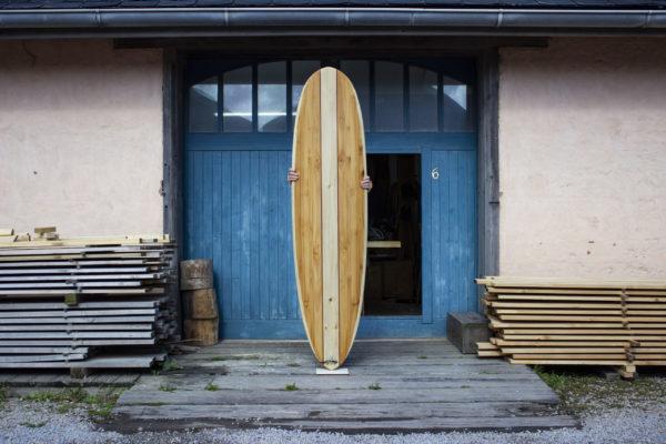 finished wooden surfboard otter surfboards workshop cornwall Barque