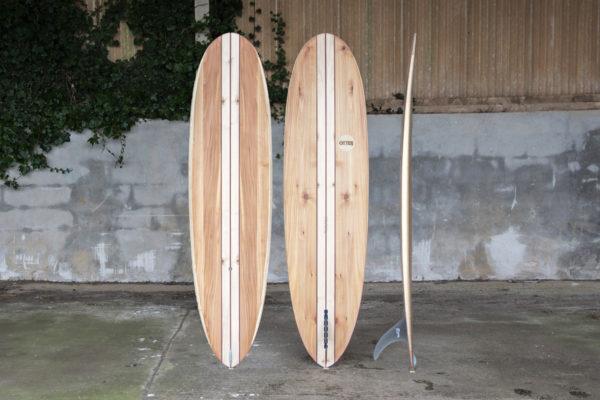 finished wooden surfboard composite otter surfboards workshop cornwall Barque