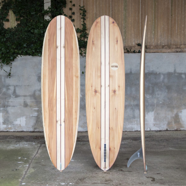 finished wooden surfboard composite otter surfboards workshop cornwall Barque