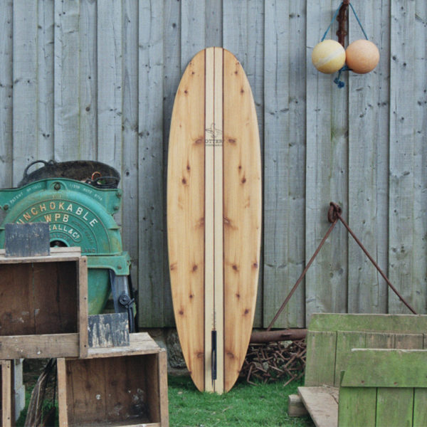 finished wooden surfboard otter surfboards workshop cornwall Jetty Midlength egg