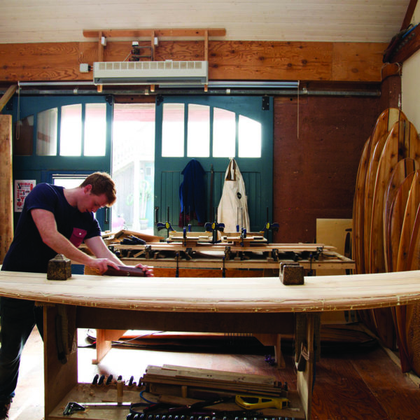 Otter Surfboards wooden surfboard workshop course in Cornwall wooden longboard Ralph Shaping