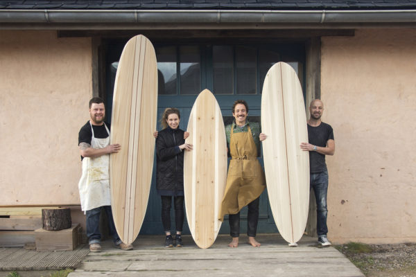 Otter Surfboards wooden surfboard workshop course in Cornwall group portrait with Mike, Richard and Sarah december 2017