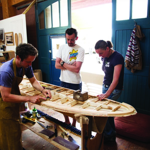 Otter Surfboards wooden surfboard workshop course in Cornwall group session with Martin, Tracey and Paul