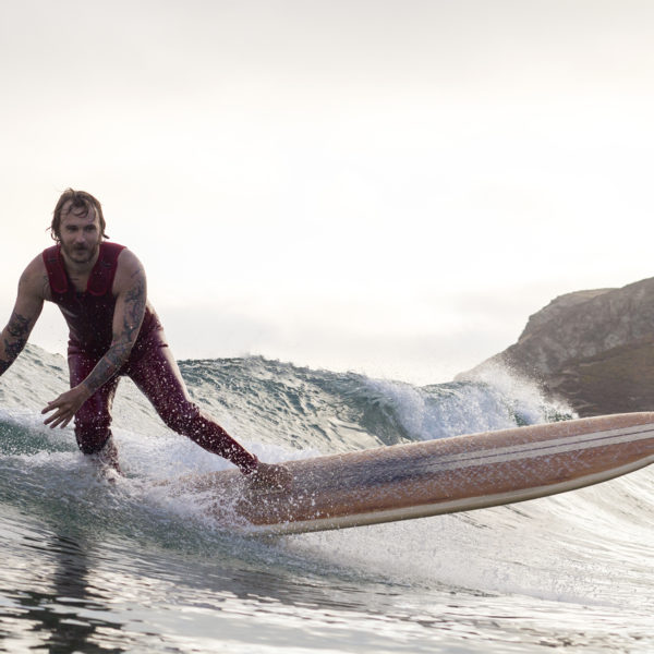 Rob Roma Reviews Wooden surfboard surfing st agnes longboard surfboard cornwall