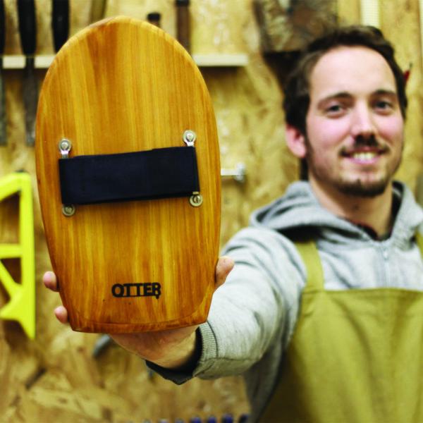 Otter Wooden bodysurfing bob Handplane and product shot in workshop