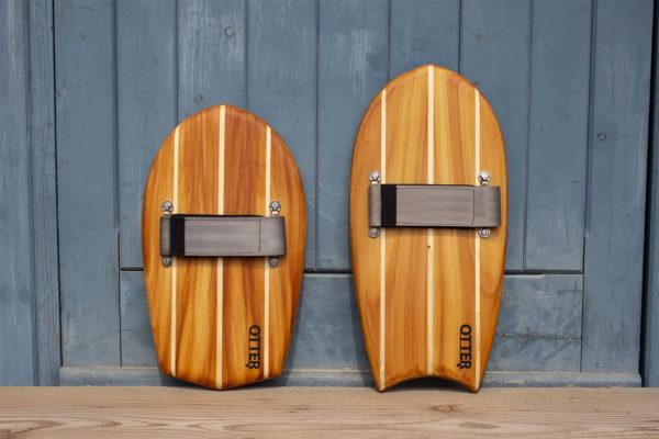 Otter Wooden bodysurfing Handplane pair triple pale diamond crescent strap