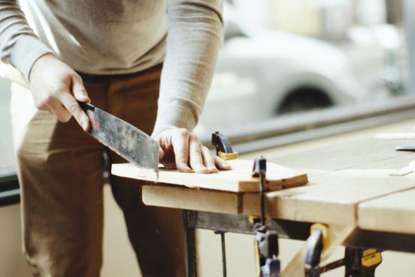 James Otter Surfboards wooden bodysurfing handplane workshop london covent garden finisterre sawing