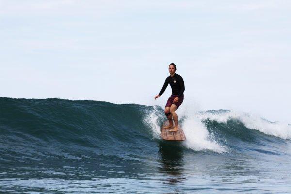 James Otter Riz Boardshorts Wooden Surfboard Seasaw Longboard gliding