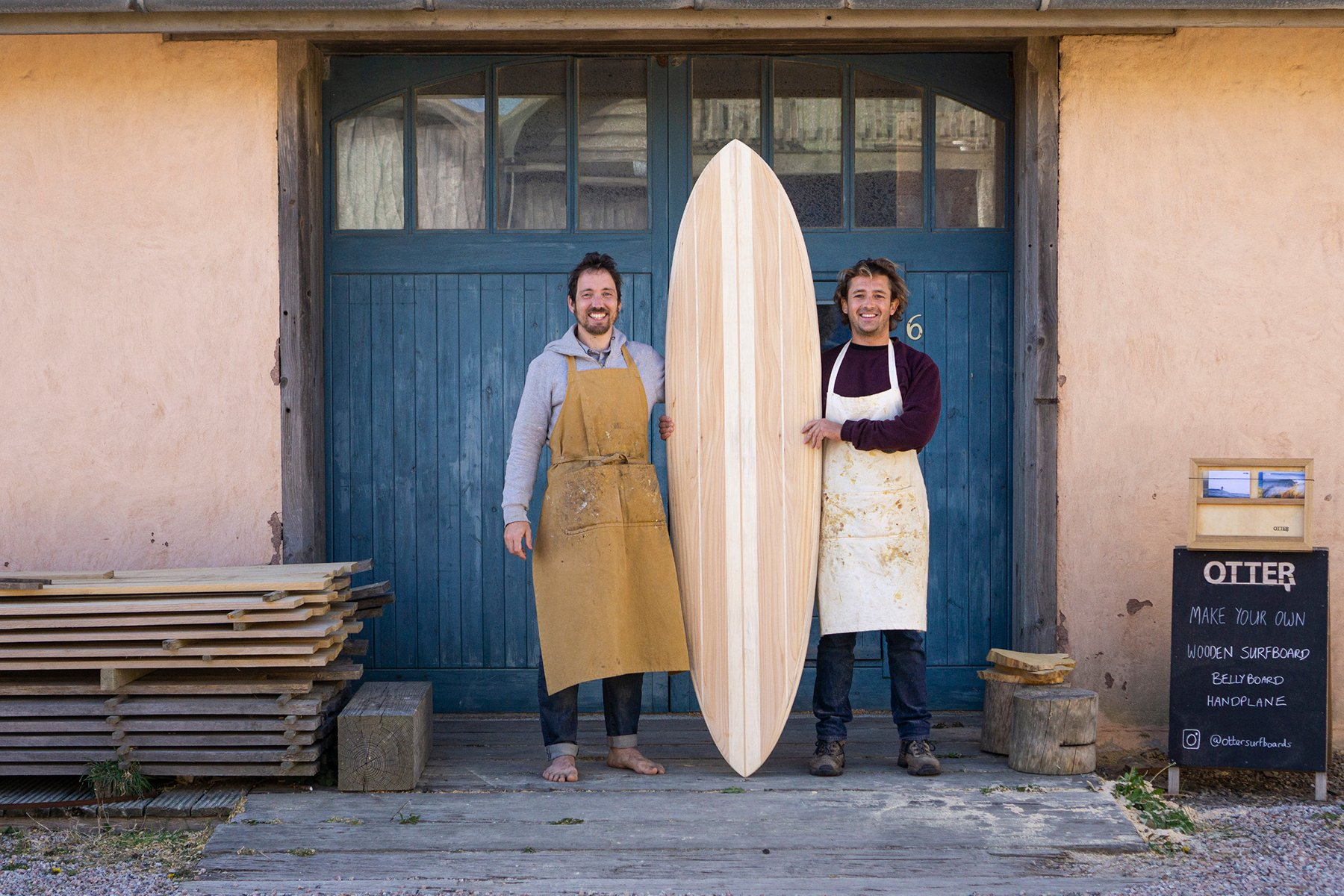 otter wooden surfboard blue doors workshop experience