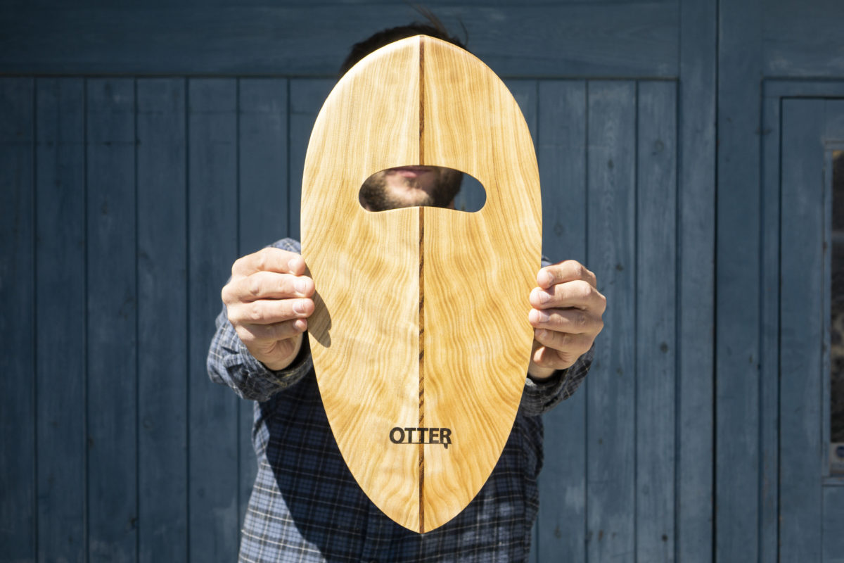 otter wooden handplane Rounded Pin Poplar with single teak hole bottom