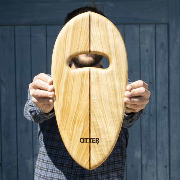 otter wooden handplane Rounded Pin Poplar with single teak hole top