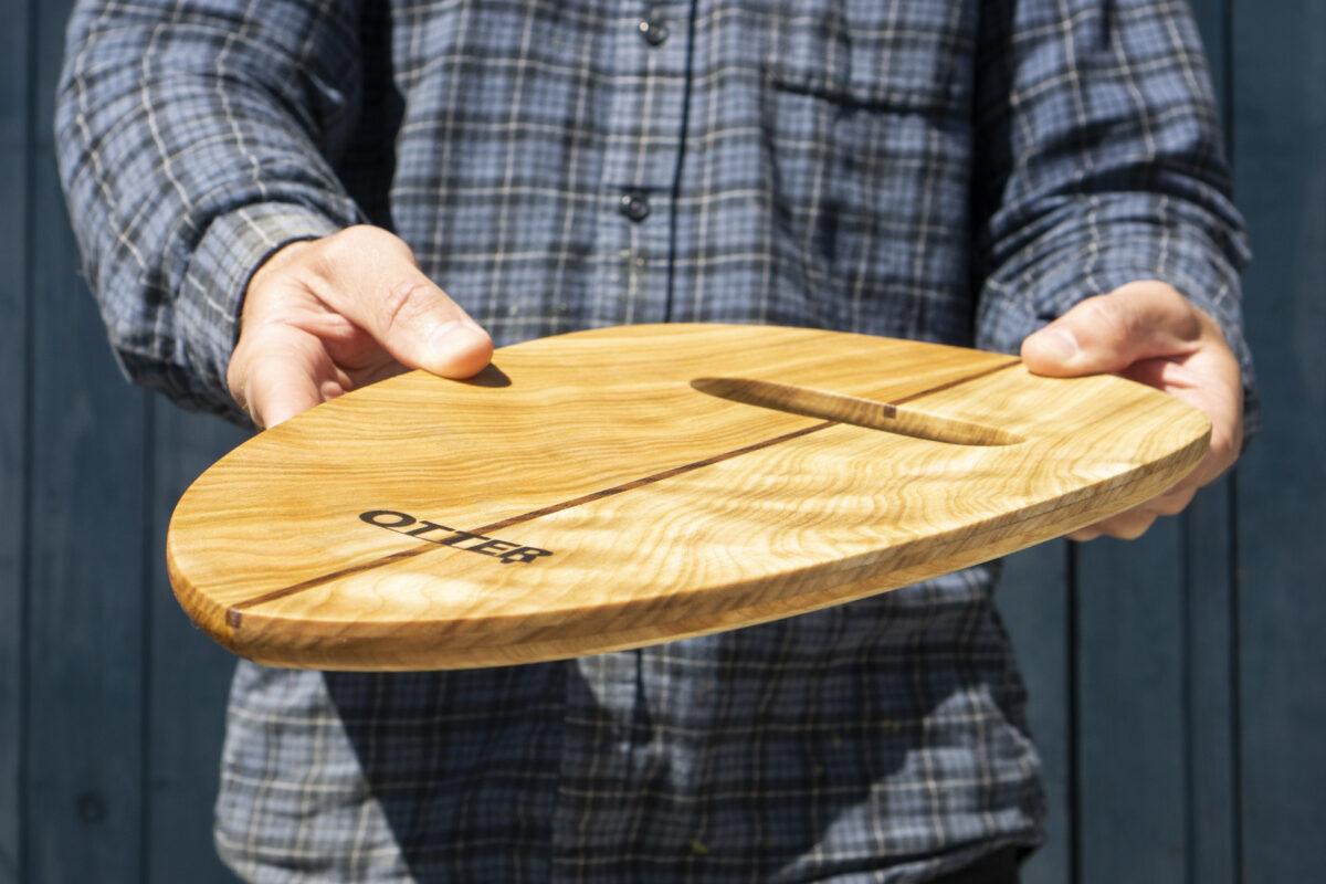 otter wooden handplane Rounded Pin Poplar with single teak hole underside