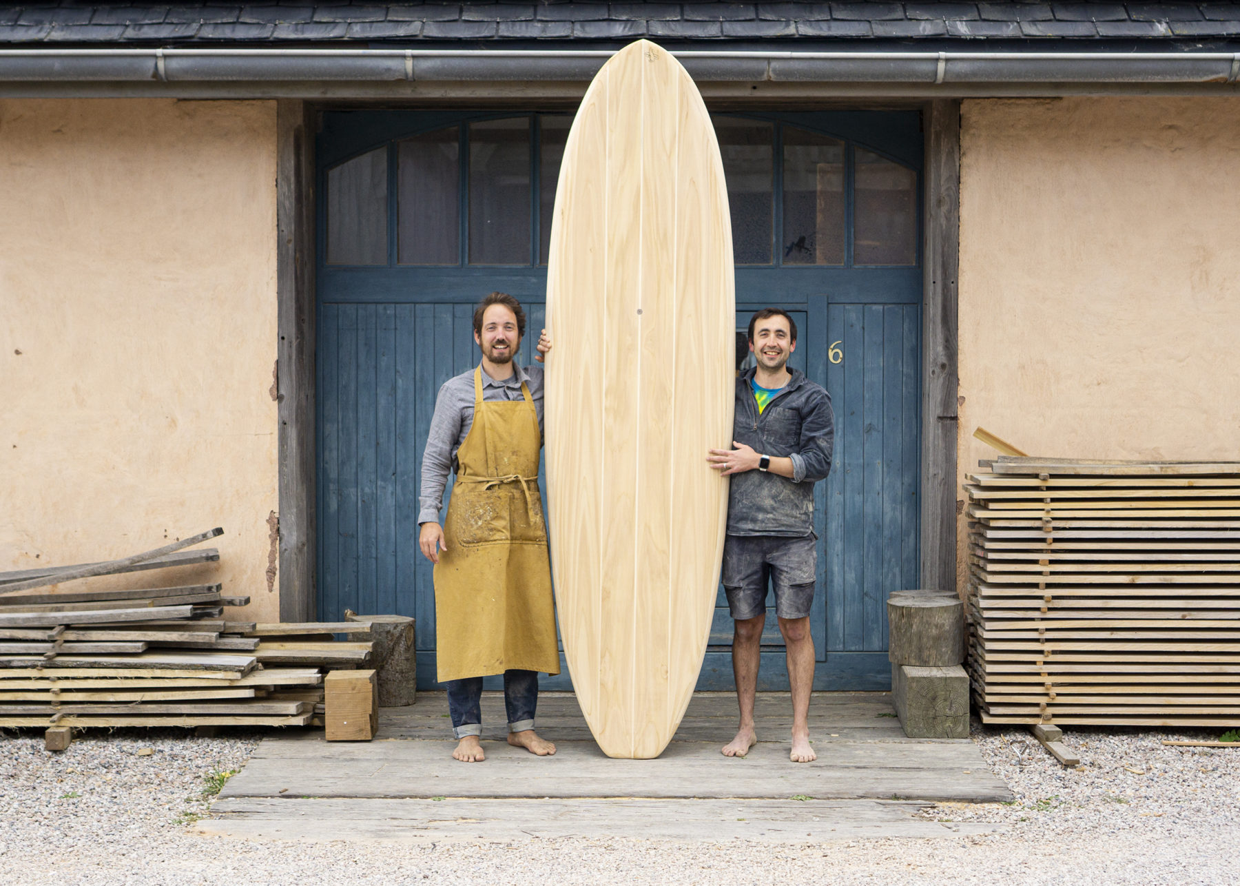 wooden paddleboard workshop course otter blue doors